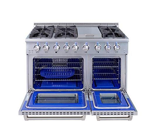 Thor Kitchen Gas Range with 6 and Double Stainless - HRG4808U-1