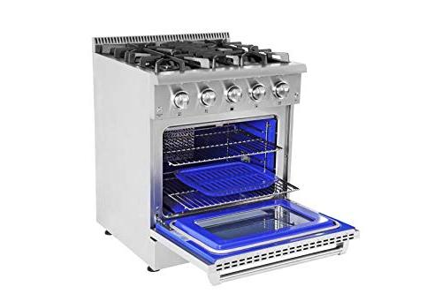 "Thor Kitchen Standing 30"" Professional Gas with 4.2 cu. ft, 4 Cast Iron Grates, Blue Porcelain Oven in 36 in. in,"