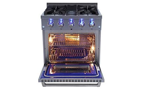 "Thor Kitchen HRG-3080U Free Standing 30"" Professional Style with 4 Cast Grates, Blue Porcelain Interior, in Stainless 36 in."