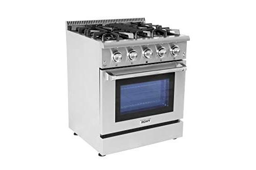 Thor Kitchen Standing HRG3080U Professional Style with ft, 4 Burners, Cast Iron Blue Oven in in. in,