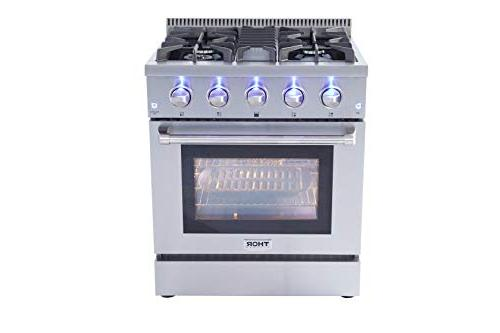 "Thor Kitchen HRG-3080U Standing 30"" Professional Style with 4 Burners, Cast Blue Porcelain Oven Interior, in 36 in. in,"