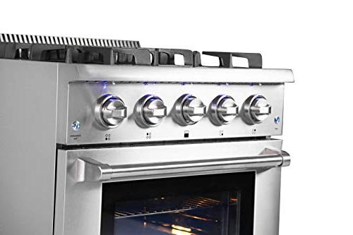 Thor Standing HRG3080U Professional Gas Range 4 Fan, Cast Iron Grates, Blue in Stainless 36 in. in,