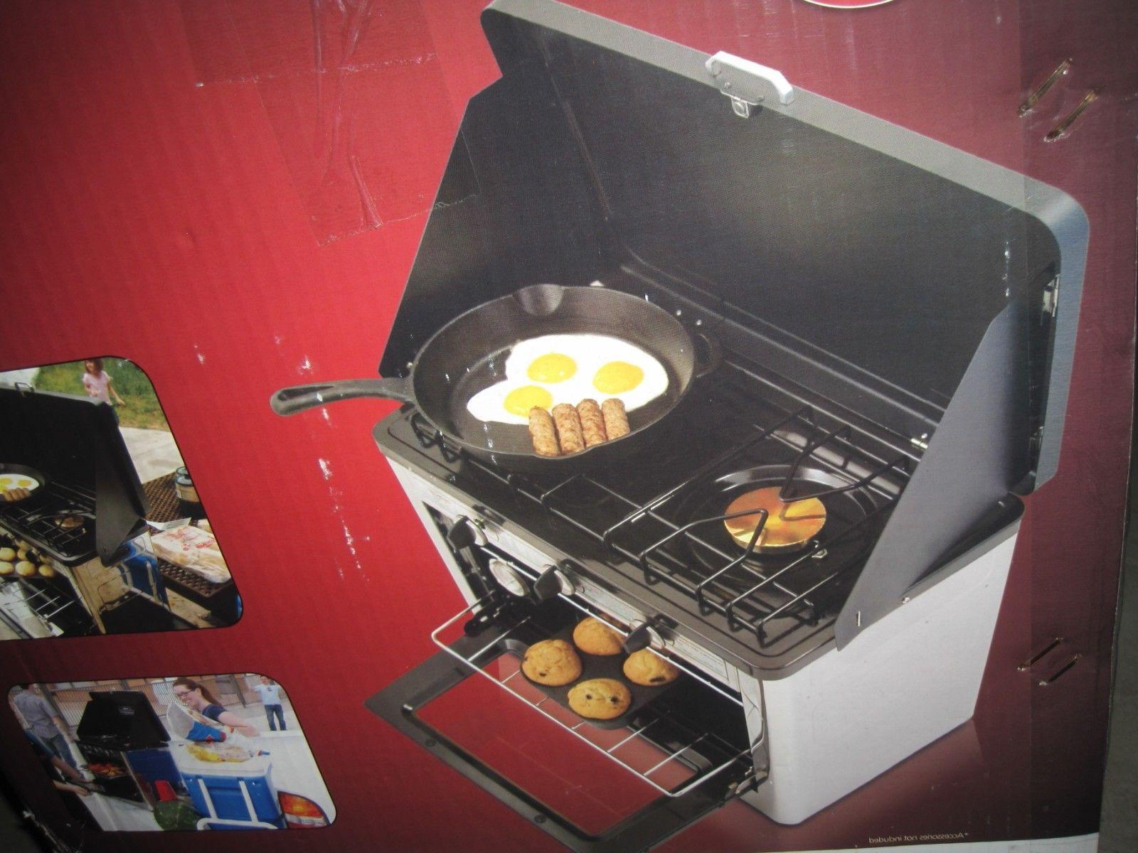 bnib camping outdoor oven with 2 burner