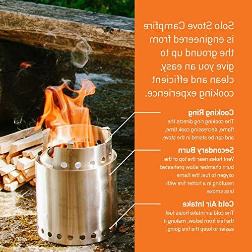 Solo Campfire 2 Pot Combo: 4+ Person Wood Camping Kit NO Batteries or Liquid Fuel Gas Canister Required.