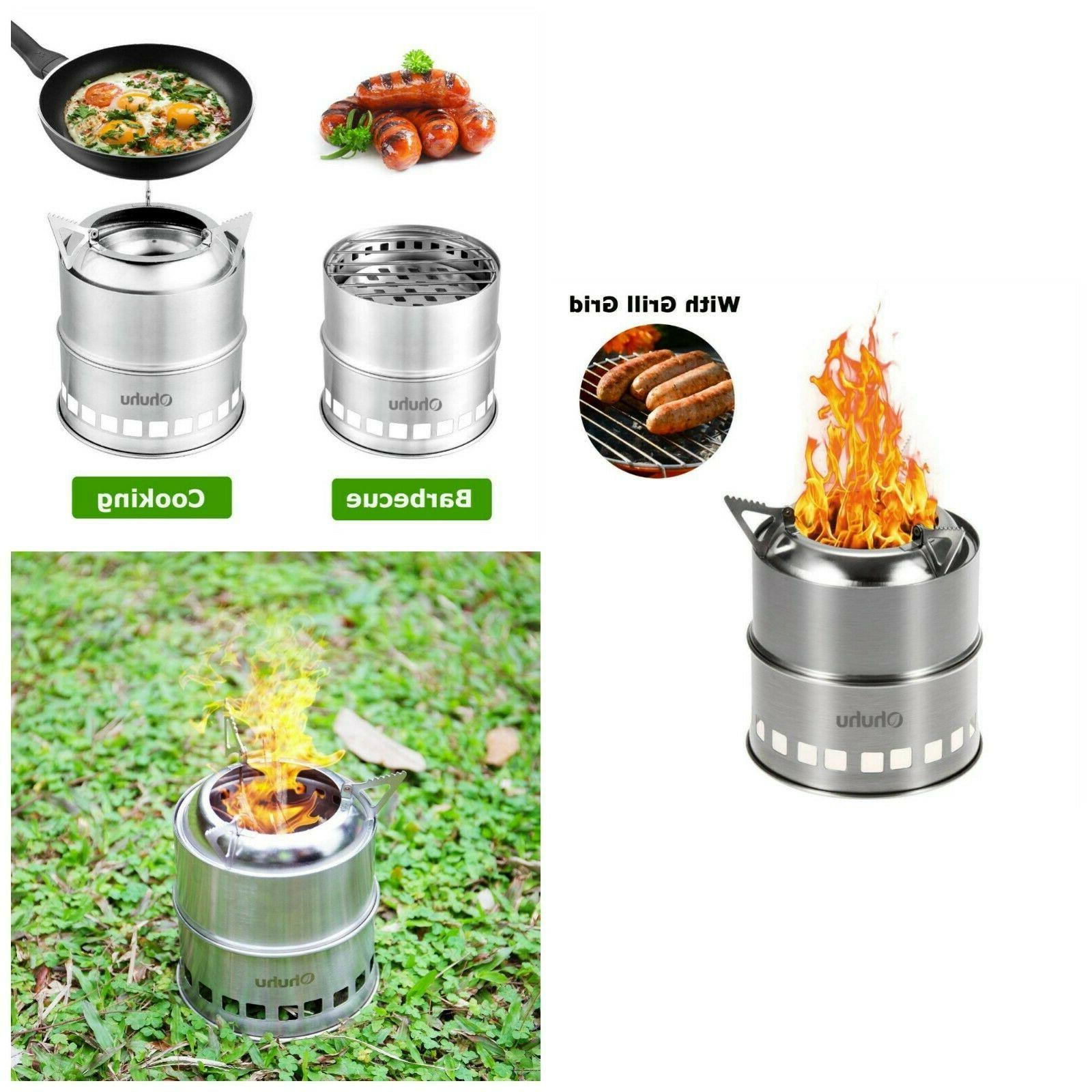 Camping Stove With Grill Grid Backpacking Portable Wood Burn