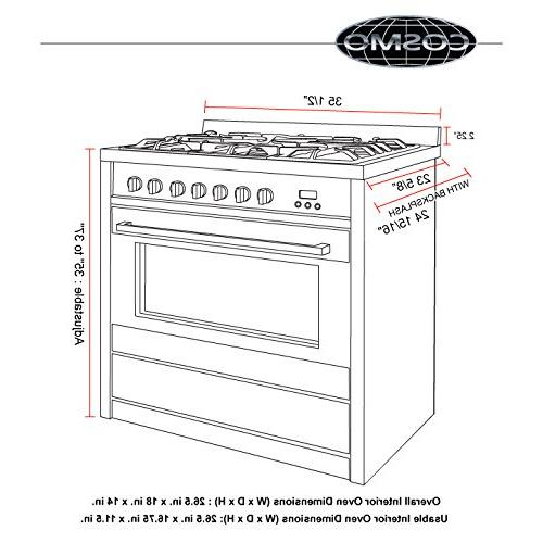 Cosmo 3.8 Oven Gas Range 5 Heavy Iron Grates in Stainless