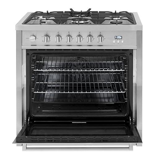 Cosmo COS-965AGC 3.8 Oven Range with 5 Cooktop and Heavy Iron Grates Steel