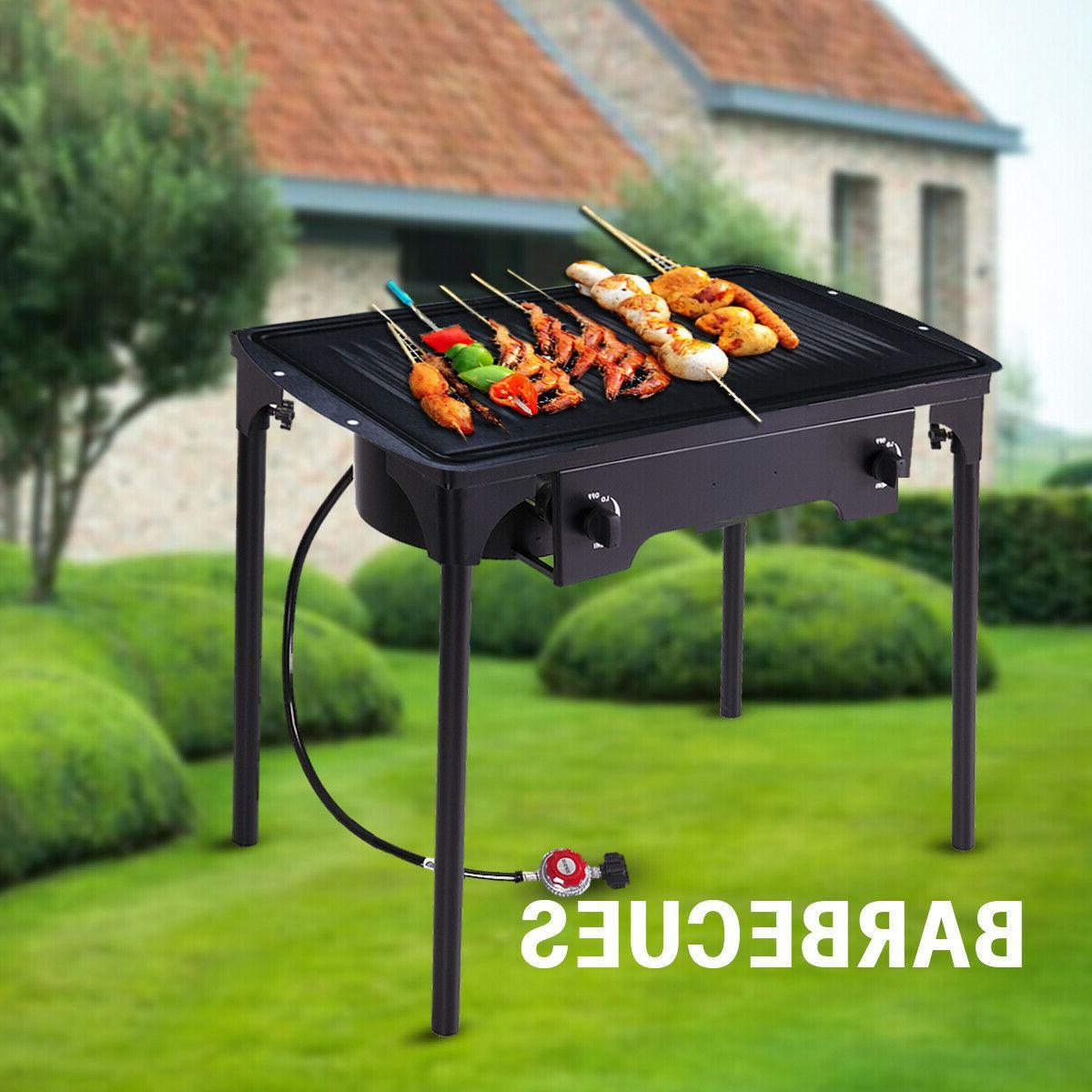 double burner gas propane cooker