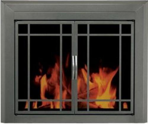 Pleasant Hearth Edinburgh Glass Firescreen Gunmetal - Small