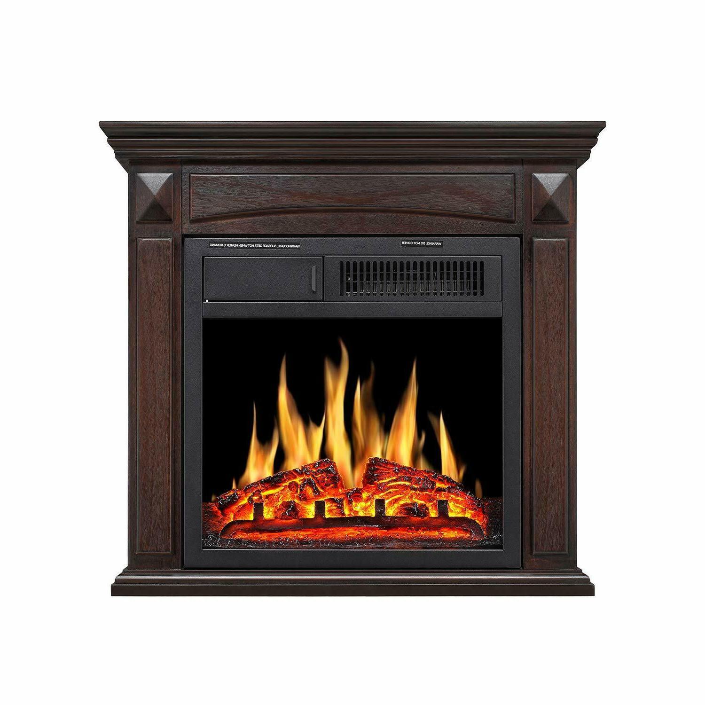 electric fireplace mantel wooden surround firebox freestandi