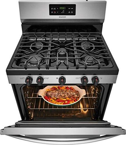 Frigidaire FFGF3054TS 30 Inch Gas 5 Sealed Burner Cooktop, 5 cu. Primary Oven Capacity, in Stainless Steel