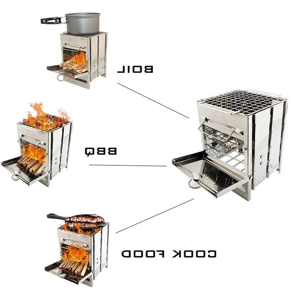 folding wood burning camp stove stainless steel