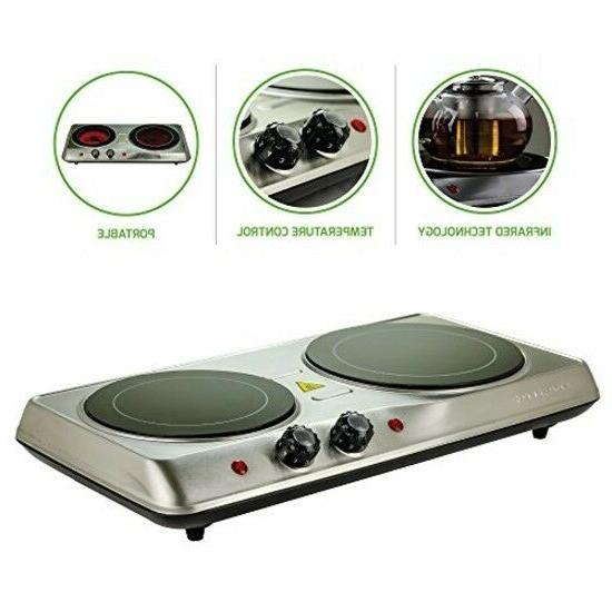 Ovente Countertop Burner, Infrared Ceramic Glass Double Plat