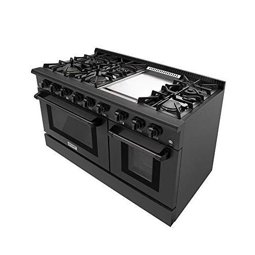 Thor Kitchen Gas 6 Cooktop 6.7 Black Steel Blue Porcelain HRG4808-BS