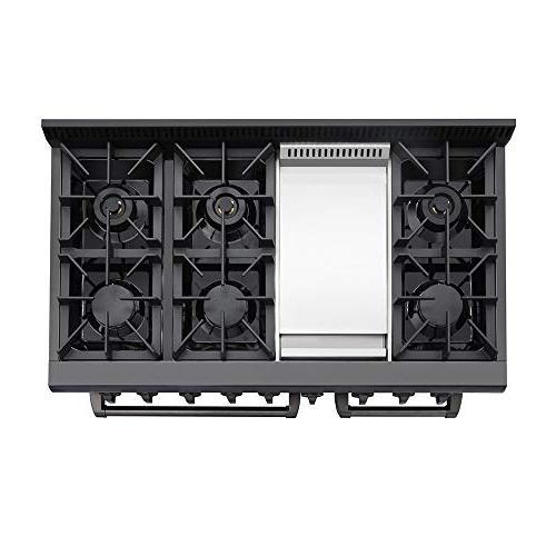 Thor Inch Gas Range Cooktop Black Steel Blue Porcelain Oven Interior
