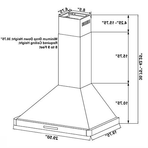"AKDY 30"" Kitchen Mount Stainless Panel Control Range AZ63175S Stove Vents"