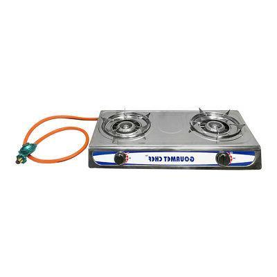 portable 2 double burners stove range propane