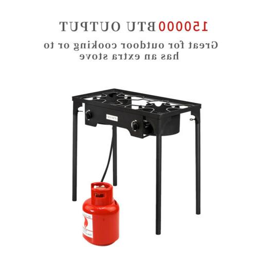 Double Burner Gas Propane Cooker Outdoor Camping Stove Stand