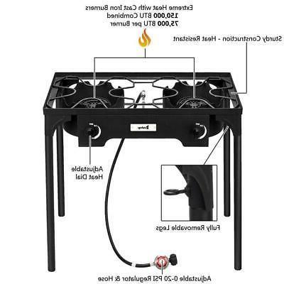Portable Propane 150,000-BTU Burner Gas Outdoor Camp Stove
