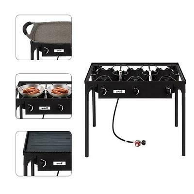 Propane 225000BTU 3 Burner Cooker Stove Outdoor Grill Black