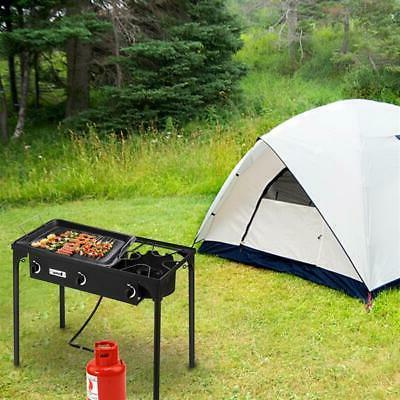 Propane Double 3 Burner Stove Outdoor BBQ Black