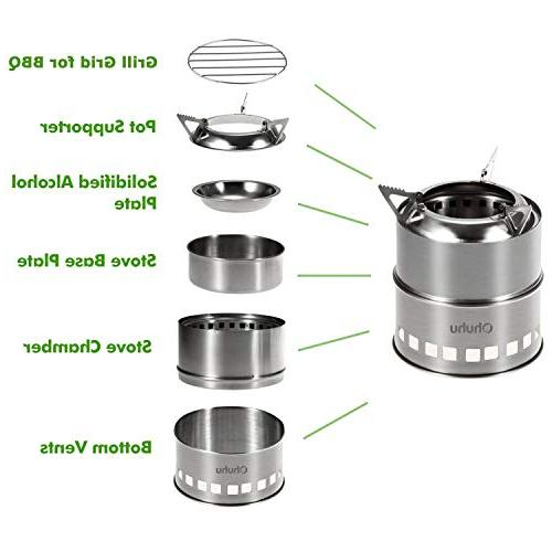 Ohuhu Camping Stainless Steel Stove Wood Burning Picnic with Grill
