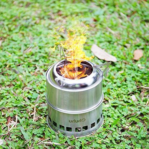 Ohuhu Stove Steel Wood Burning for Picnic BBQ Camp Hiking