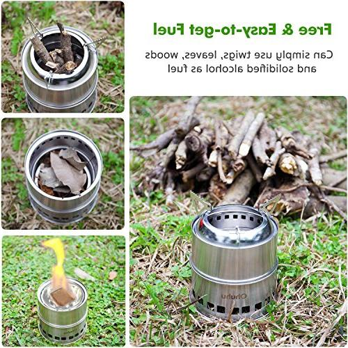Ohuhu Steel Backpacking Stove Wood Picnic Camp with Grill Grid