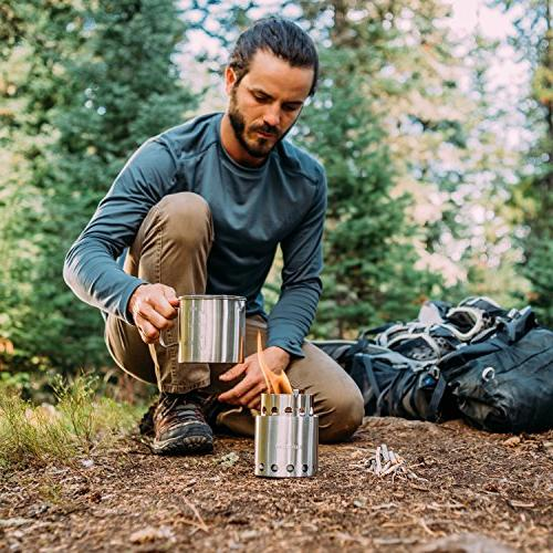 Solo Stove 900 Combo: Ultralight Burning Backpacking Lightweight Kit Backpacking, Camping, Survival. Twigs, Liquid Required