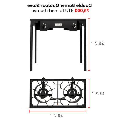 Portable Propane 150,000-BTU 2 Burner Gas Cooker Outdoor Camp