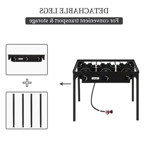 Propane Double 3 Burner Cooker Stand Stove Outdoor Black