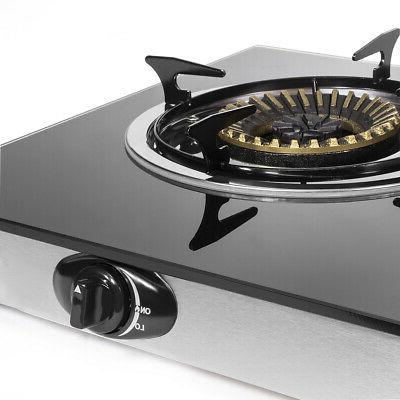 Propane Stove 2 Burner camping Tempere Glass Cook top Auto Ignition