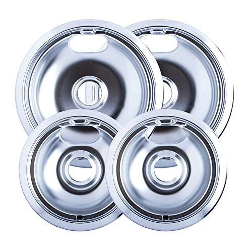 "4 & 8"" Replacement Chrome Pans for Whirlpool W10278125 W10196405"