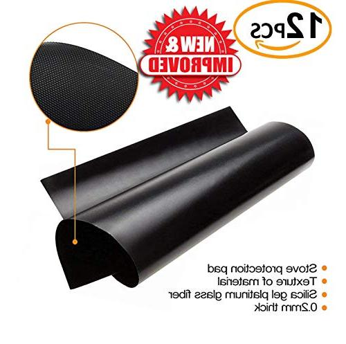 SPECIAL 12 Black Stove Covers + Silicone - Top Liner - Gas Range Protector Burner Covers IMPROVED Double Thickness 0.2mm &