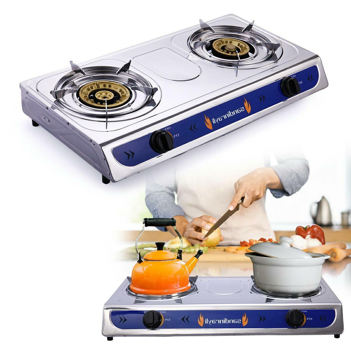 stainless steel double burner gas