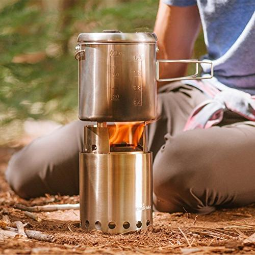 Solo Pot 1800 Camp Stove Combo: Woodburning Stove Great for Camping and Survival