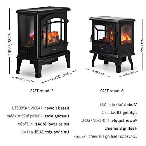 TURBRO TS23 Electric Fireplace Stove Multi Adjustable 23 inches,