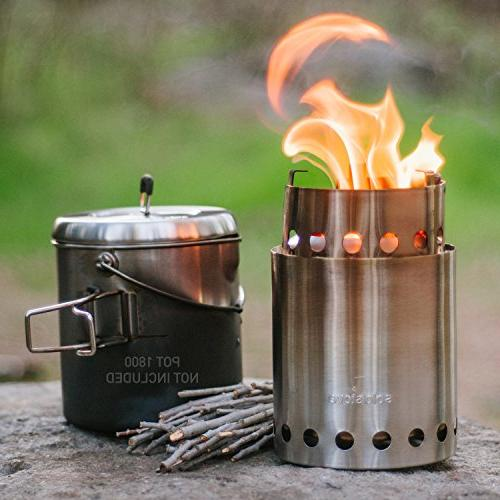 Solo 2-4 Person Lightweight Burning Compact Camp Camping, - No Batteries Liquid Canisters Needed.