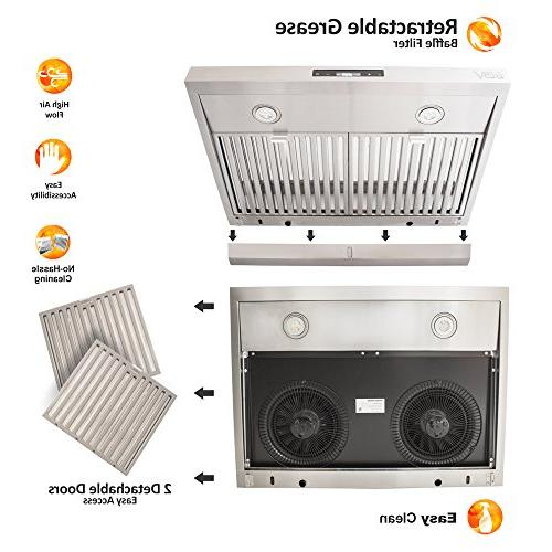 BV 30 CFM Touch Screen Under Cabinet Stainless Hoods, Safe Baffle Filters Lights, Way Installation, Kitchen Exhaust Fan