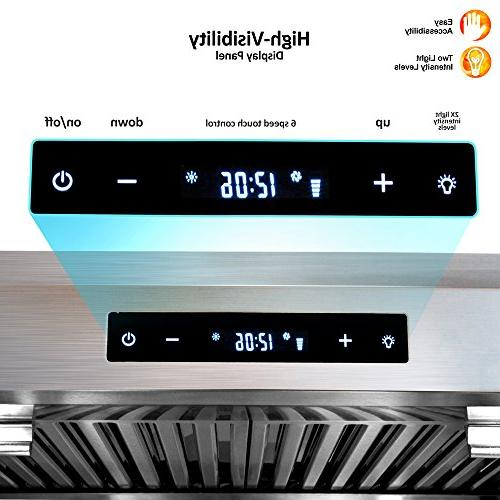 BV Range 30 Touch Screen Stainless Kitchen Range Hoods, Dishwasher Filters w/LED 3 Way Installation, Exhaust Hood