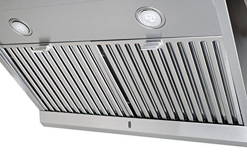 Chef Under Range Hood, Stainless Steel | Modern Design Touch Dishwasher Baffle LED Lamps, Options