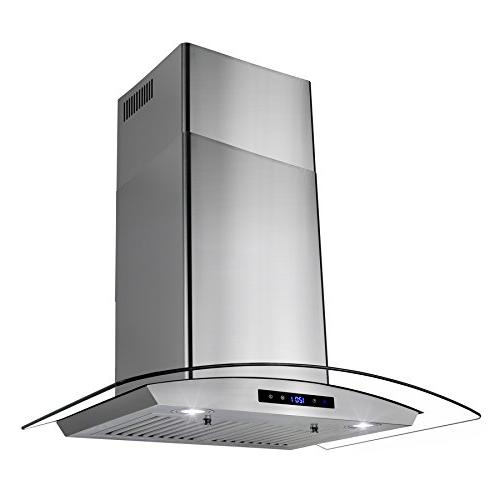 "AKDY 30"" LED Display Touch Panel Glass Fan Range Hood"