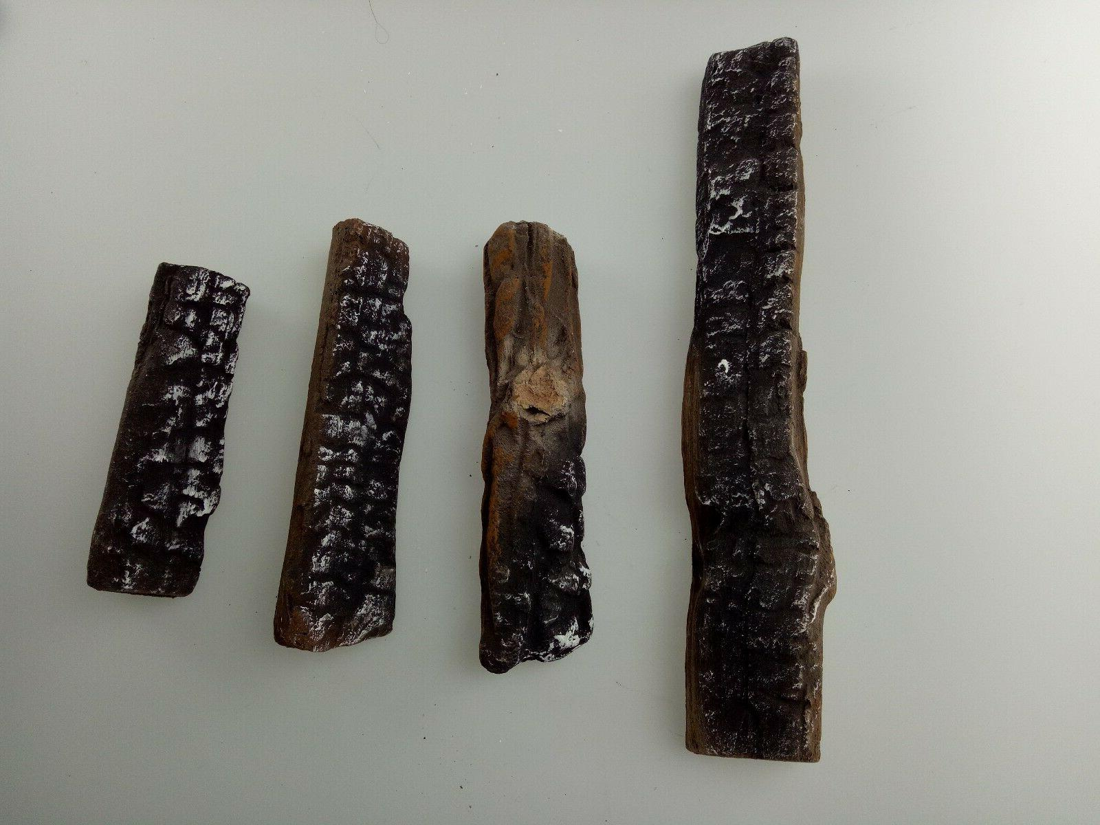 4 Pcs Fireplace Ceramic Logs for Gas Ethanol Fireplaces & St