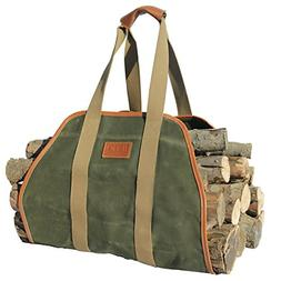 Log Carrier Tote Bag Firewood Holder Waxed Canvas 40X19 Inch