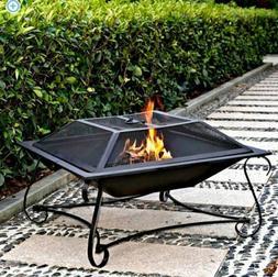 "Metal Fire pit Outdoor 30"" Backyard Patio Garden Square Stov"