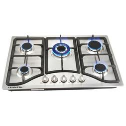 "New 30"" Stainless Steel 5 Burner Built-in Stoves NG Gas Hob"