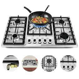 """New 33.8"""" Stainless Steel Cooktop Built-in Stove Natural Gas"""