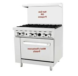 "NEW 36"" 6 Burner Nat Gas LP Range & Oven Commercial Restaura"