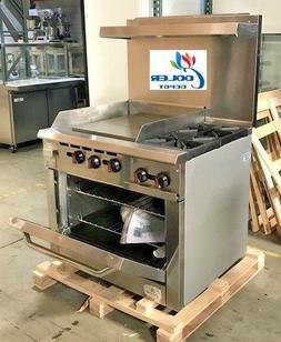 "NEW 36"" Oven Range Combo Griddle & 2 Burner Stove Top Commer"