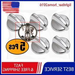 New 5X Burner Control Knobs Silver Part For GE Range AP43463